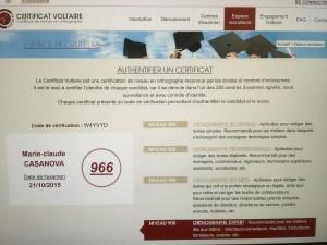 Certificat Voltaire